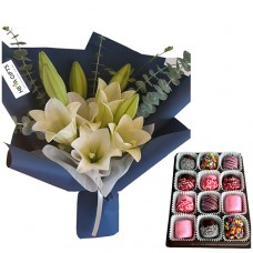 White Lily bouquet in navy wrapping with chocolate dipped Marshmallow
