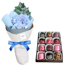 PROSPERITY COLLECTION: Blue Hydrangea bouquet with chocolate dipped marshmallow
