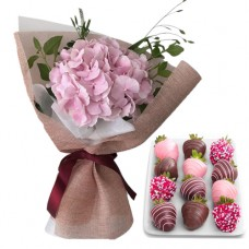 PROSPERITY COLLECTION: Pink Hydrangea bouquet with chocolate dipped Strawberries