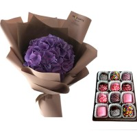 PROSPERITY COLLECTION: Stylish Purple Hydrangea bouquet with chocolate dipped marshmallow