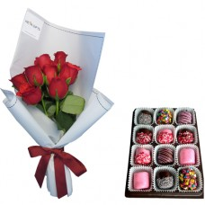 SYMPHONY COLLECTION: Red Roses in white wrapp and Chocolate dipped Marshmallows