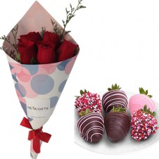 Happiness Collection: Mini Red Roses Bouquet with Chocolate dipped strawberries