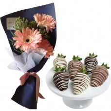 SEPTEMBER COLLECTION: Pink Gerbera bouquet with Chocolate covered Strawberries