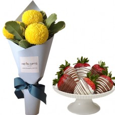 SEPTEMBER COLLECTION: Fresh Ping Pong Bouquet with Strawberries in Chocolate