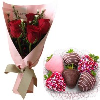 SEPTEMBER COLLECTION: Fresh Red Roses  with Chocolate dipped strawberries