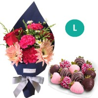 SEPTEMBER COLLECTION: Mix Flowers bouquet with Chocolate dipped strawberries