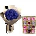 Hydrangea Bouquet with Chocolate Dipped Marshmallow