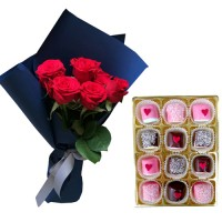 RED Roses  with Special Valentine's  Chocolate dipped Marshmallow