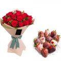 ELEGANCE COLLECTION: 18 Red Roses with heart-shape decor  Strawberries dipped in chocolate