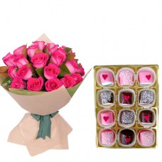 Elegance Collection: 15 Pink Roses bouquet with Chocolate  dipped Marshmallows