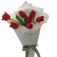 VALENTINO COLLECTION: Luxury  Fresh  Red Tulip bouquet
