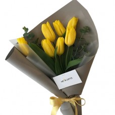 VALENTINO COLLECTION: Luxury  Fresh  Yellow Tulip bouquet