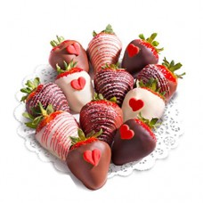 ADD-ON: Dark, White and Milk Chocolate covered Fresh Strawberries with heart shape candies