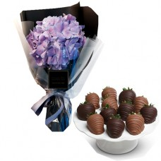 Hydrangeas stylish bouquet with chocolate dipped strawberries