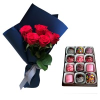 AMORE COLLECTION0: Red Roses with Chocolate dipped Marshmallows