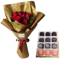 GOLDEN COLLECTION:  Red Rose Bouquet with Chocolate Dipped Marshmallow