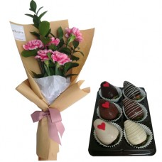 Mother's Day Collection: Carnation bouquet with Chocolate dipped strawberries(S)