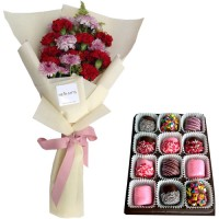Love Collection: Carnation mix  bouquet with Chocolate dipped Marshmallows
