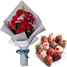 Mother's Day Collection: Carnation mix Roses and Pompom bouquet with Chocolate dipped strawberries(S)