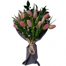 18 Fresh Pink Tulip Bouquet