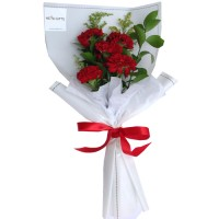 Mother's Day Collection: Carnation bouquet in white wrapping