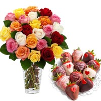 Multicolor Fresh Roses in Vase (18 stalks) and Box of chocolate dipped fruits