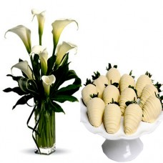 White Calla Lilies with White Chocolate dipped Strawberries