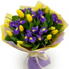 Mother's Day Collection: Yellow Tulip and Iris Bouquet