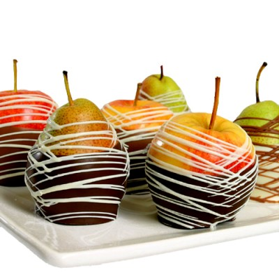 Apple and Pears dipped in Chocolate