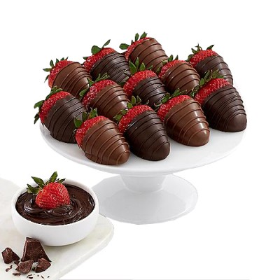 Fresh strawberries dipped in mix chocolate