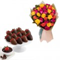 Mix color Roses bouquet with box of chocolate dipped strawberries