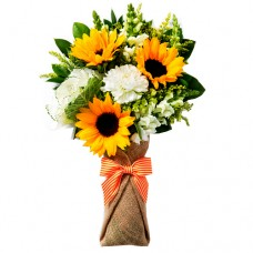 Poova Collection: Mixed Sunflowers and Carnations is Burlap Wrapping