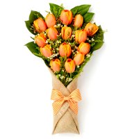 Poova Collection: Orange Tulip's bouquet in stylish burlap wrapping