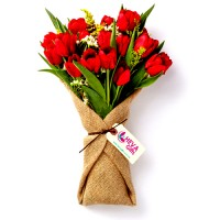 Poova Collection: Red Tulips wrapped in burlap