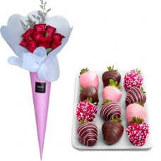 Surprise: Rose bouquet with Strawberries in Chocolate