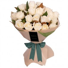 ELEGANCE COLLECTION: WHITE ROSES LUXURY BUQUET