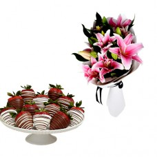 Lilies bouquet with chocolate dipped strawberries